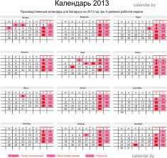 Производственный календарь для Беларуси на 2013 год для 5-дневной рабочей недели