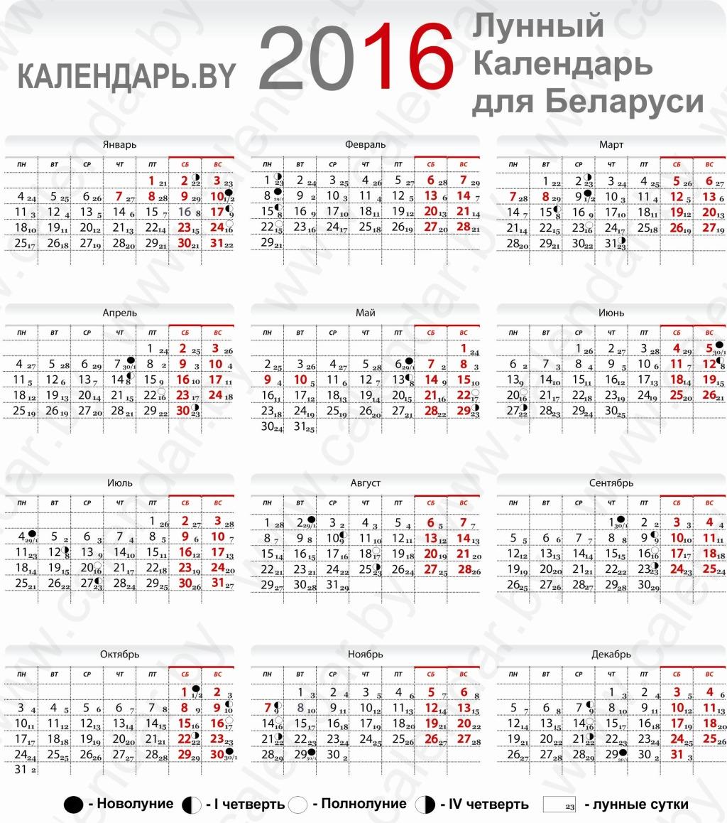 Лунный календарь на 2016 год для Беларуси