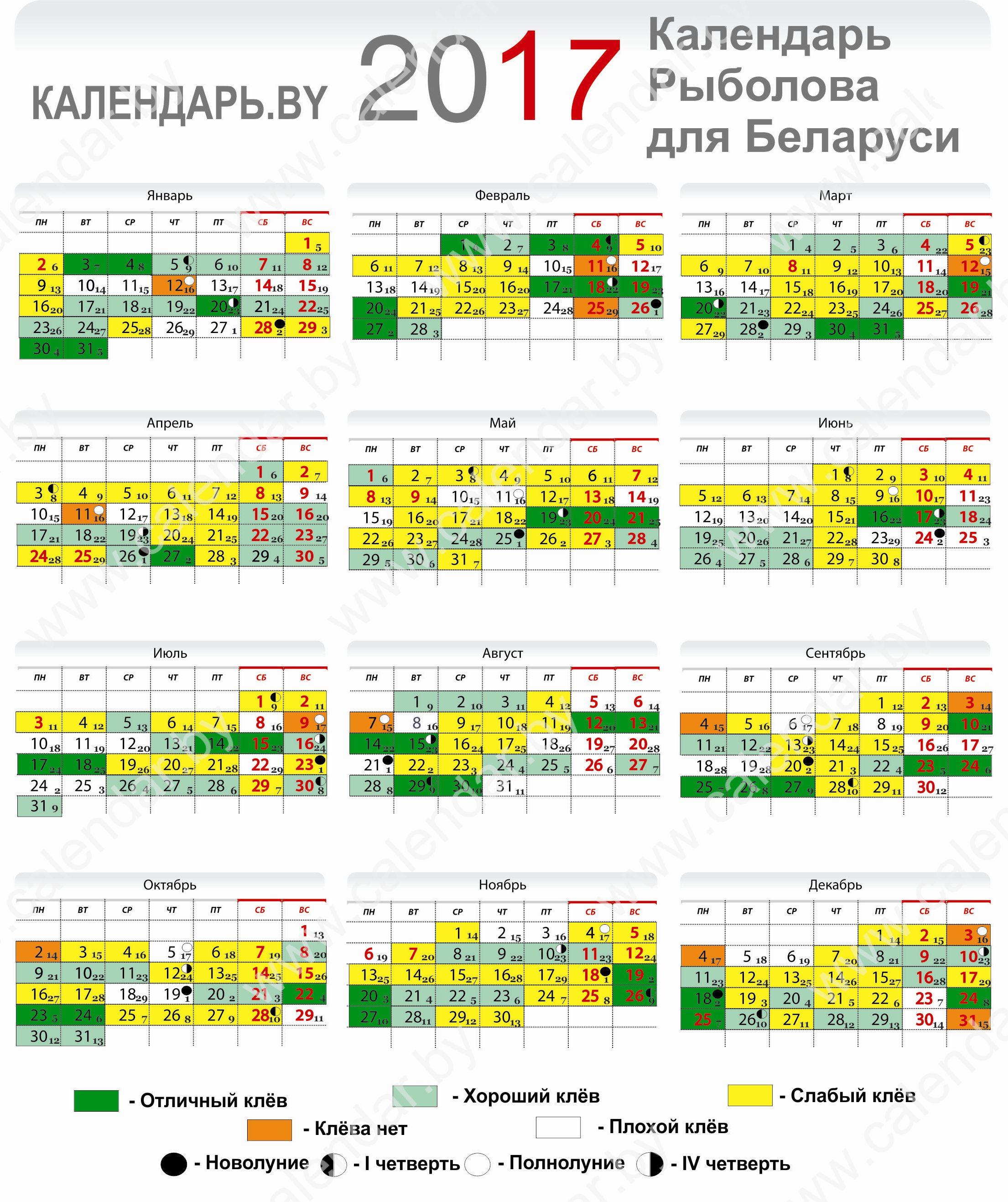 календарь клева на сегодня